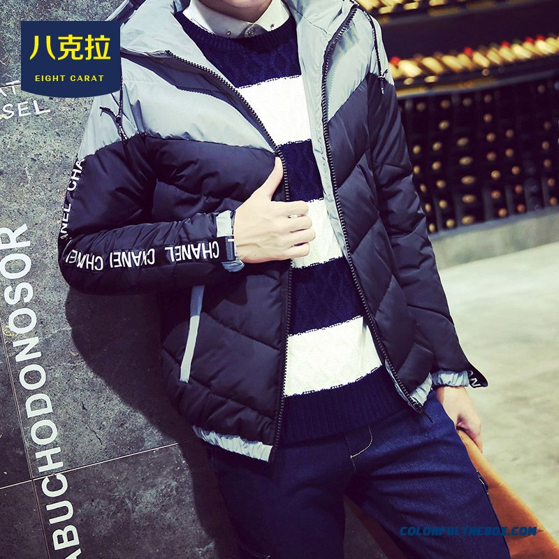 Best Selling New Winter Men Letters Stitching Slim Hooded Hit Colar Coats - more images 1