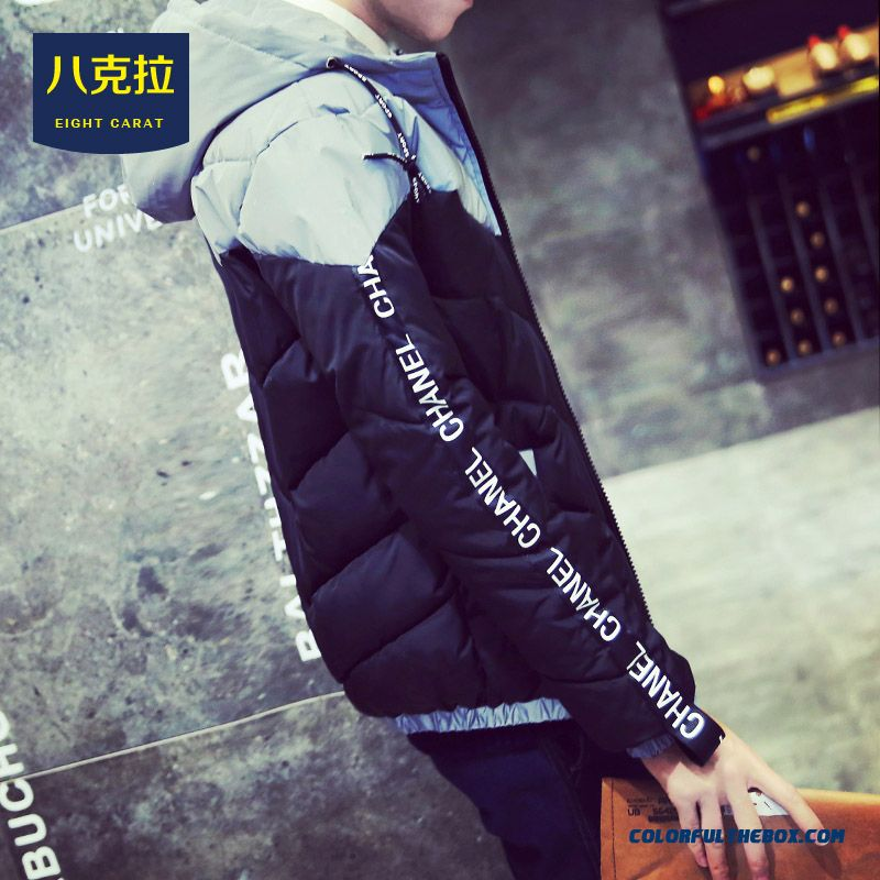 Best Selling New Winter Men Letters Stitching Slim Hooded Hit Colar Coats - more images 2