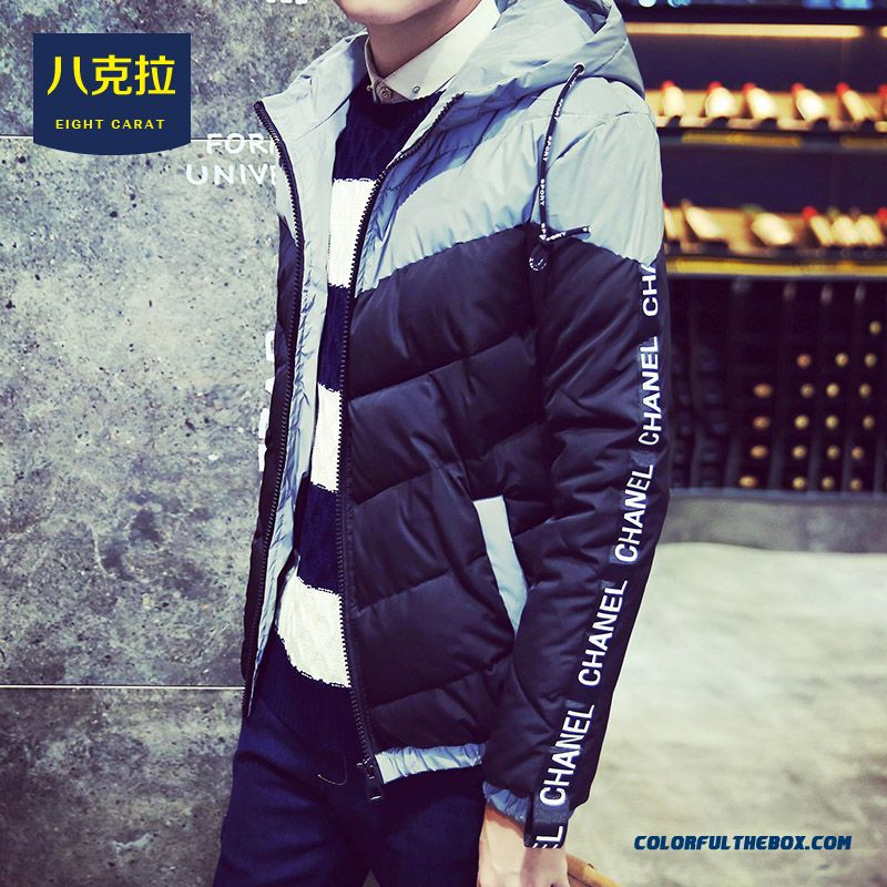 Best Selling New Winter Men Letters Stitching Slim Hooded Hit Colar Coats - more images 3