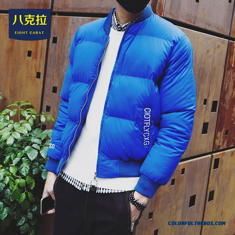 Best Selling New Winter Men Solid Colar Short Thicken Blue Baseball Coats