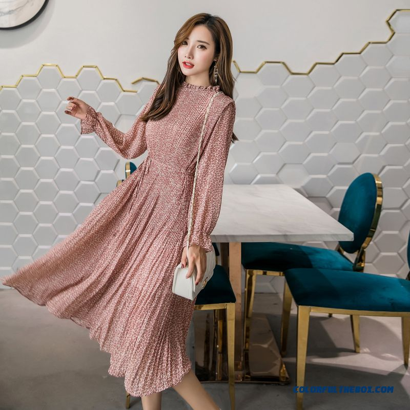 Bgteever Elegant Stand Collar Floral Print Women Dress Full Sleeve Elastic Slim Waist Chiffon Autumn A-line Long Dress 2018