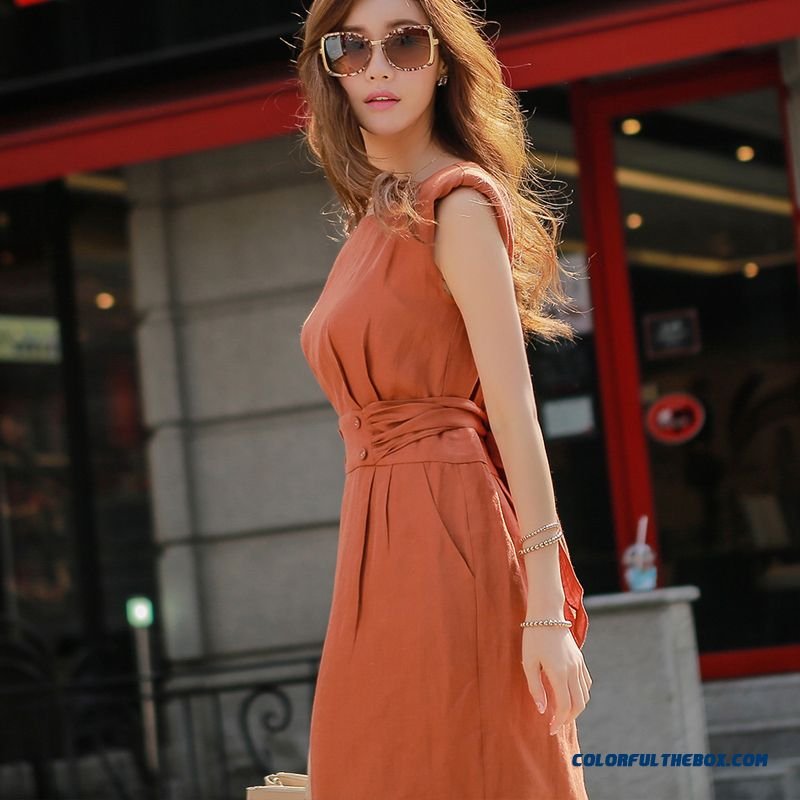 Big Bow Belt Back Button Design Style Fashion Ol Spring Dress Sleeveless Dress Cotton Women Dress