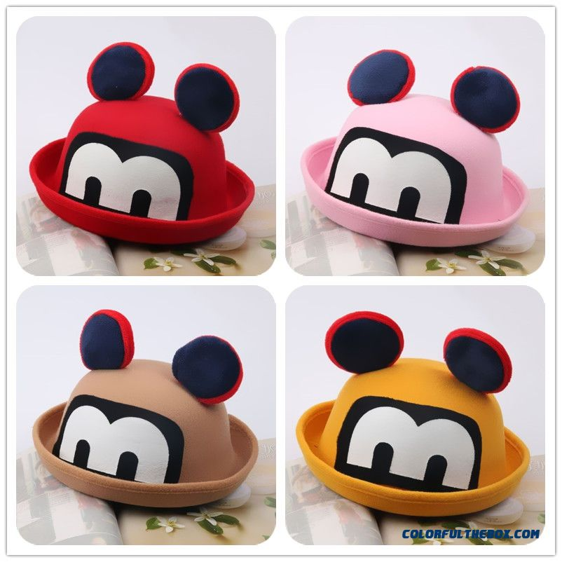Big Ears Mickey Wool Fall And Winter Baby Peaked Cap Kids Boys Baseball Caps