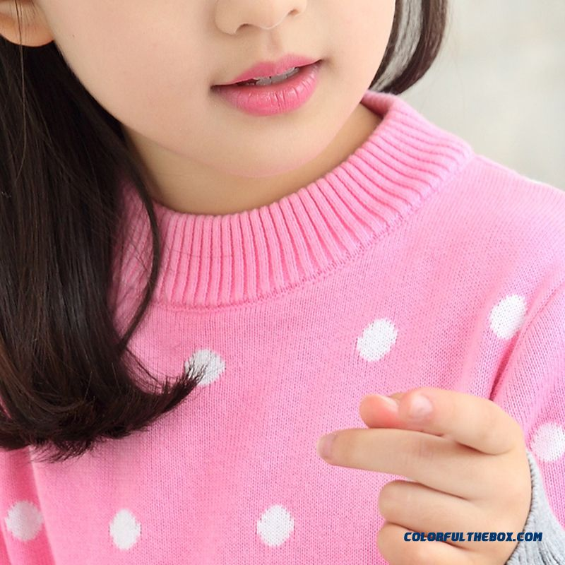 Big Girls Sweaters Pullover Thick Coat Cotton Kids Clothing Pink Dot Good Quality