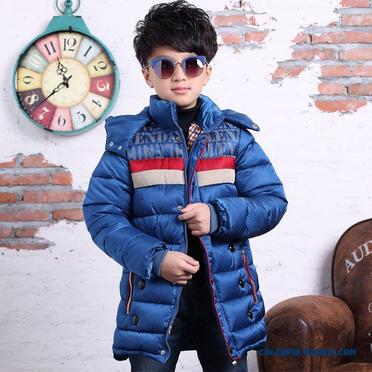 Big Kids Boys Stripespadded Medium-long Style Thick Winter Coat