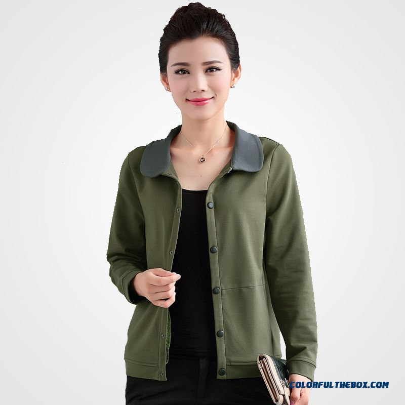 Big Promotion Autumn And Spring New Middle-aged Lady Large Size Short Green Casual Jacket