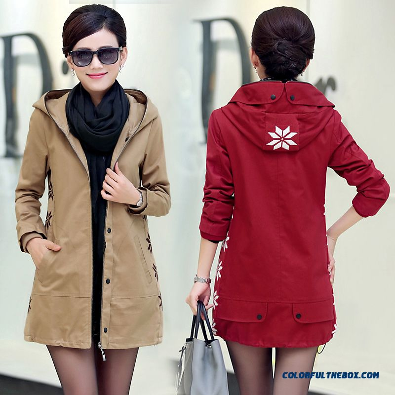 Big Promotion Autumn And Winter Middle-aged Casual Medium Style Woman Hooided Coats