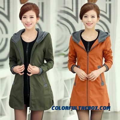 Big Promotion Autumn And Winter Middle-aged Green Khaki Medium Style Woman Hooded Cotton Jacket