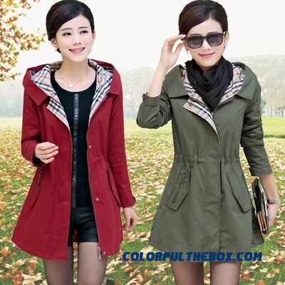 Big Promotion Autumn And Winter Middle-aged Lady Hooded Coats Loose Lady Medium Style