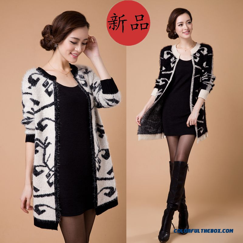 Big Promotion Autumn And Winter Middle-aged Woman Knit Long-sleeved Medium Style Jacket
