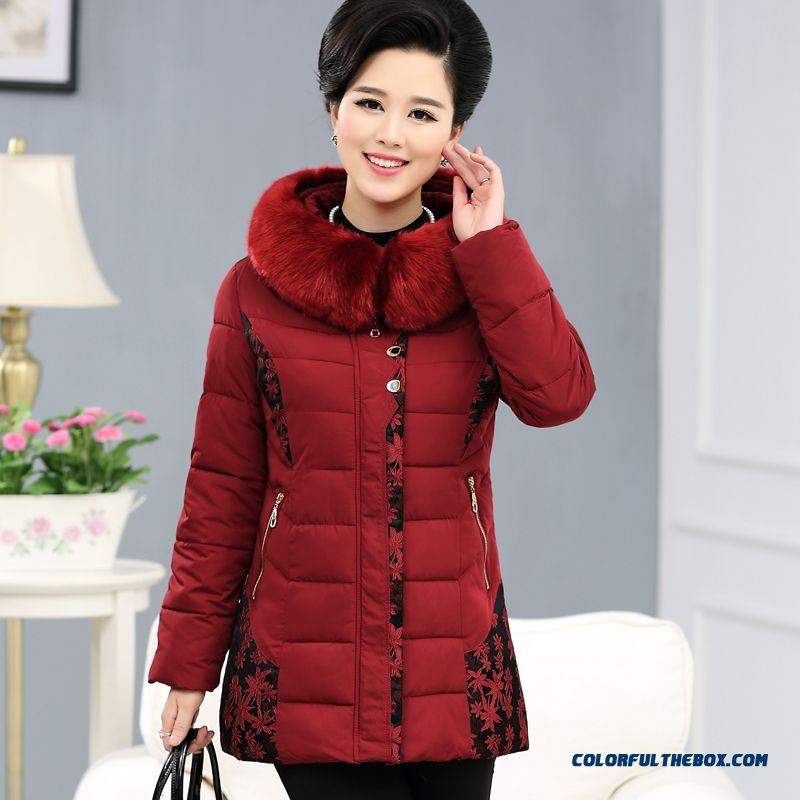Big Promotion Middle-aged Ladies Winter Fur Collar Coat Thick Padded Jacket