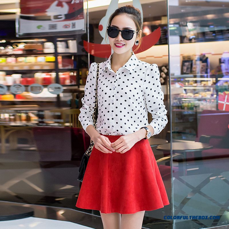 Black And White Polka Dot Blouse 2016 Spring Models Women Fashion Loose Lapel Long-sleeved Shirt