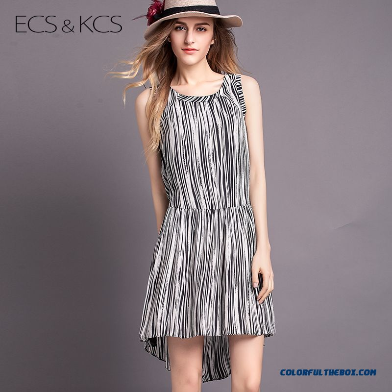 Black And White Striped Crew Neck Irregular New Women Sleeveless Dress