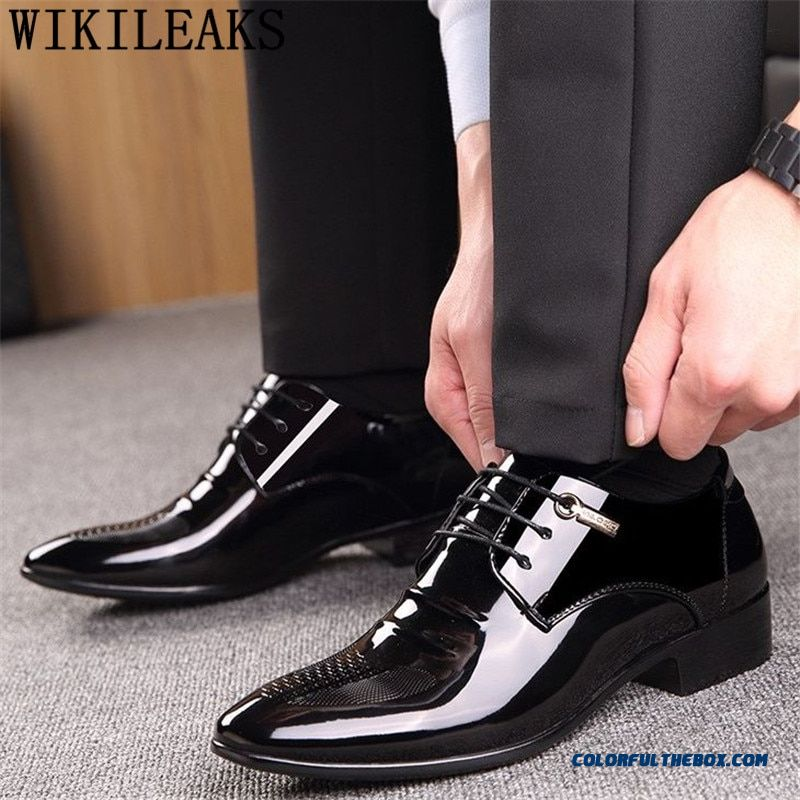 Black Designer Formal Oxford Shoes For Men Wedding Shoes Leather Italy Pointed Toe Mens Dress Shoes 2019 Sapato Oxford Masculino