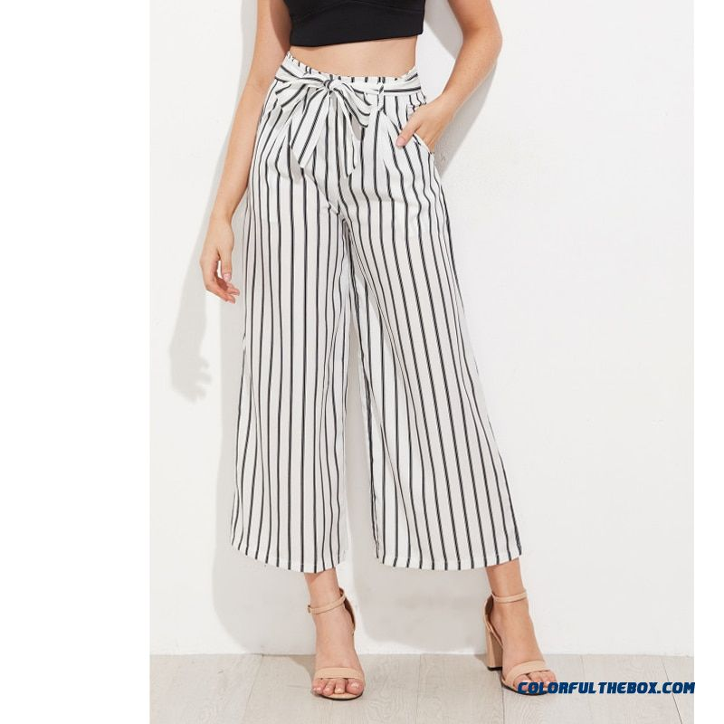 Black Striped Self Tie Wide Leg Pants Women Fashion High Waist Loose Ankle-length Pants Women Casual Vacation Pants Female