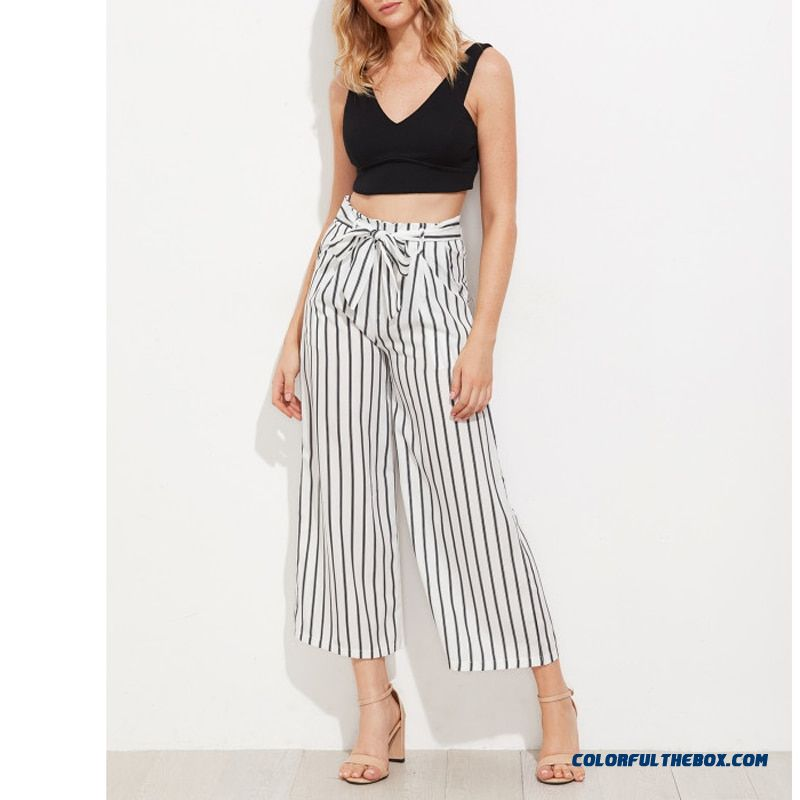 Black Striped Self Tie Wide Leg Pants Women Fashion High Waist Loose Ankle-length Pants Women Casual Vacation Pants Female - more images 2