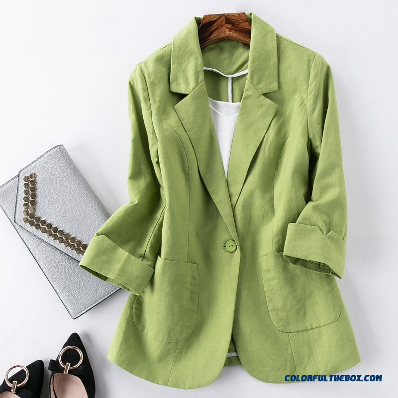 Blazer Feminino Women Linen Blazer Suit Jacket Female New Spring One Button Suit Blazer Women Blaser Mujer Grey
