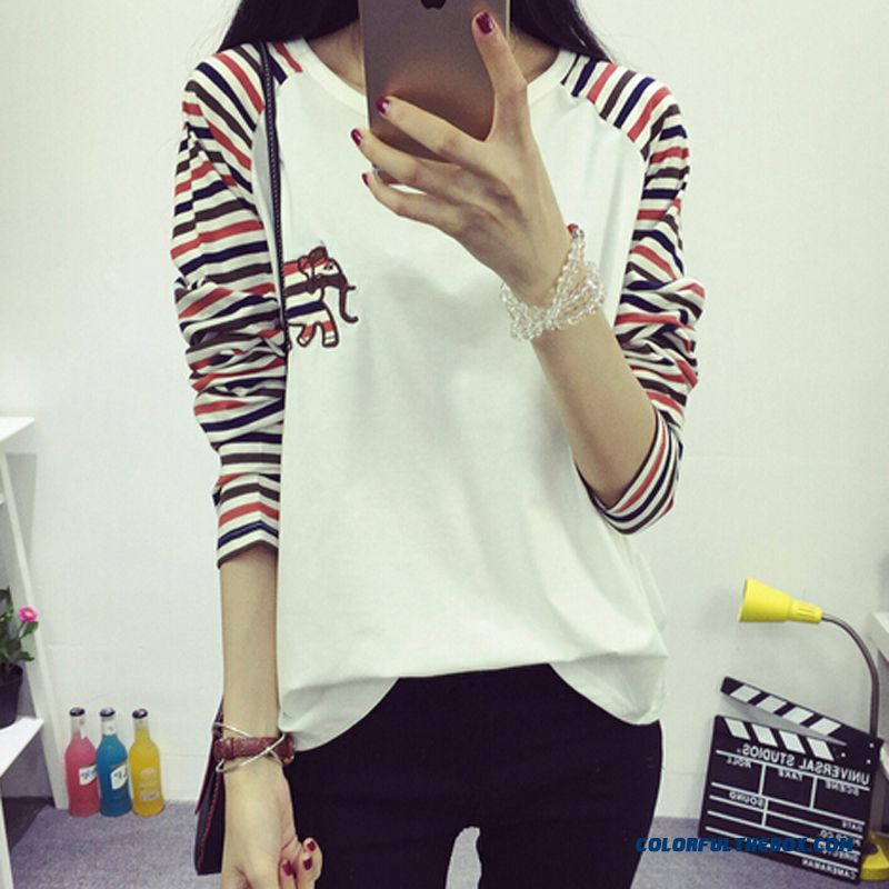 Blouses Crew Neck Long-sleeved T-shirt T-shirts Women Student Slim Loose Bottoming Shirt