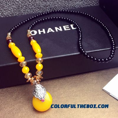 Bohemian Ethnic Style Original Manual Imitation Beeswax Jewelry Women Necklace