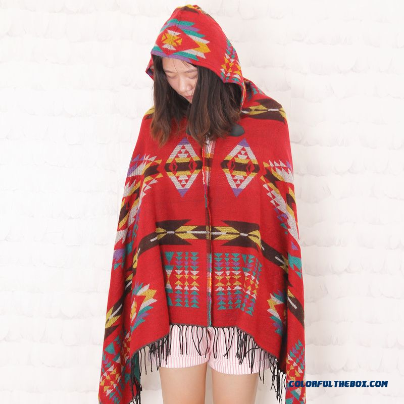 Bohemian Ethnic Style Scarf Hooded Women Cloak Adies Thick Plaid Cloak Scarves