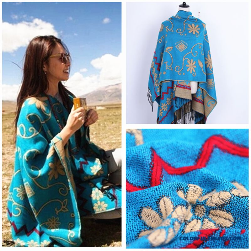 Bohemian Ladies Winter Cashmere Shawl Women Scarves Dual-purpose Ethnic Style Doul-sided Cape Cloak - more images 2