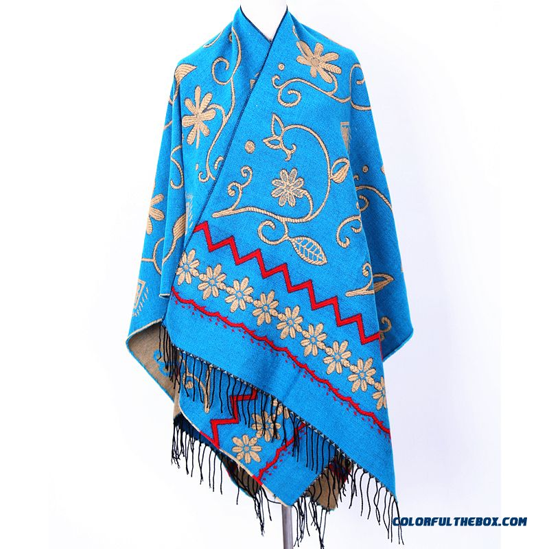 Bohemian Ladies Winter Cashmere Shawl Women Scarves Dual-purpose Ethnic Style Doul-sided Cape Cloak - more images 4
