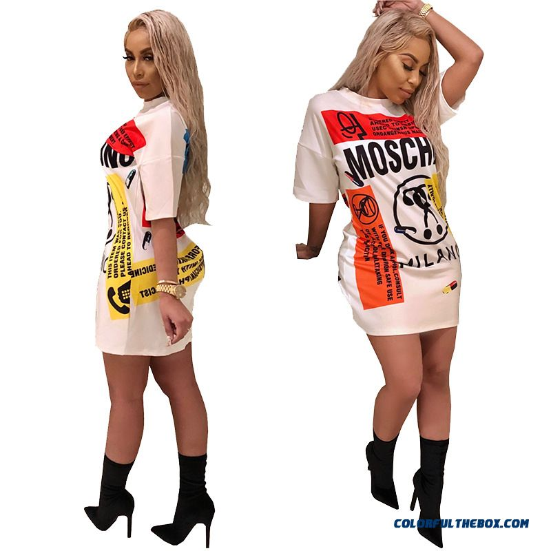 Bonjean Fashion Sexy Print Dress Summer Lady Letters Doodle Casual Loose Mini Dress Hip Hop Style Personality Creative Dress