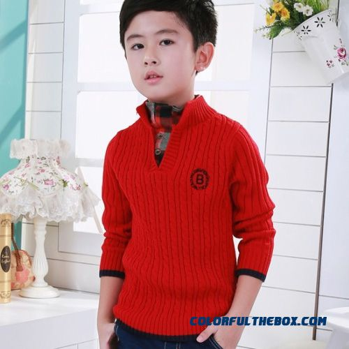 Bottoming Shirt Big Kids Boys Sweater Baby Sweater Striped Collar Open Collar Twisted Sweater