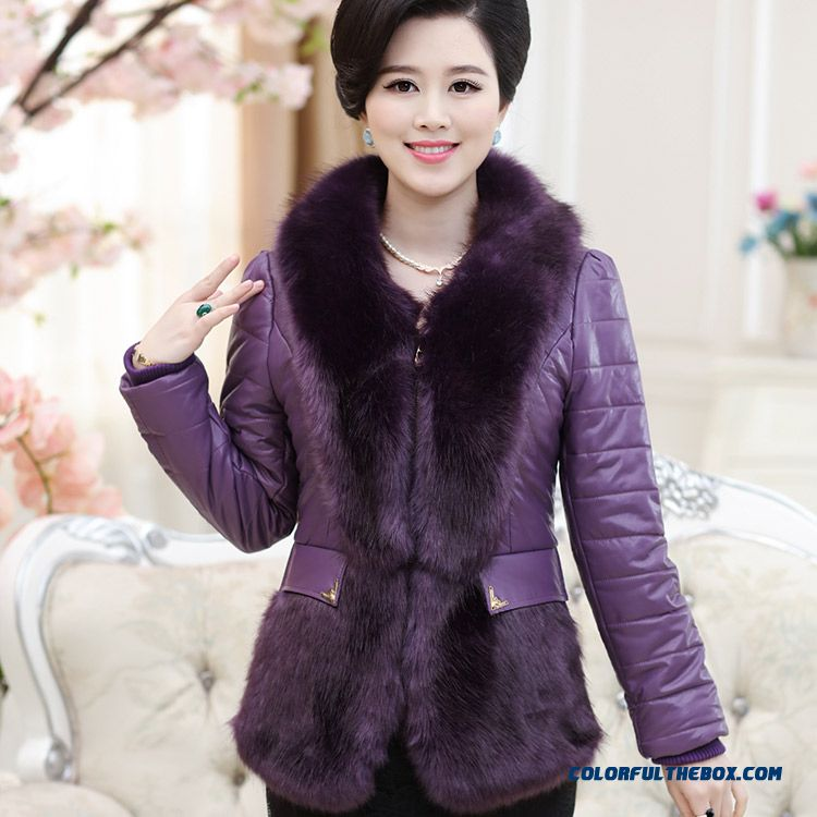 Boutique High-quality Pu Leather Padded Women Luxury Fur Collar Coat