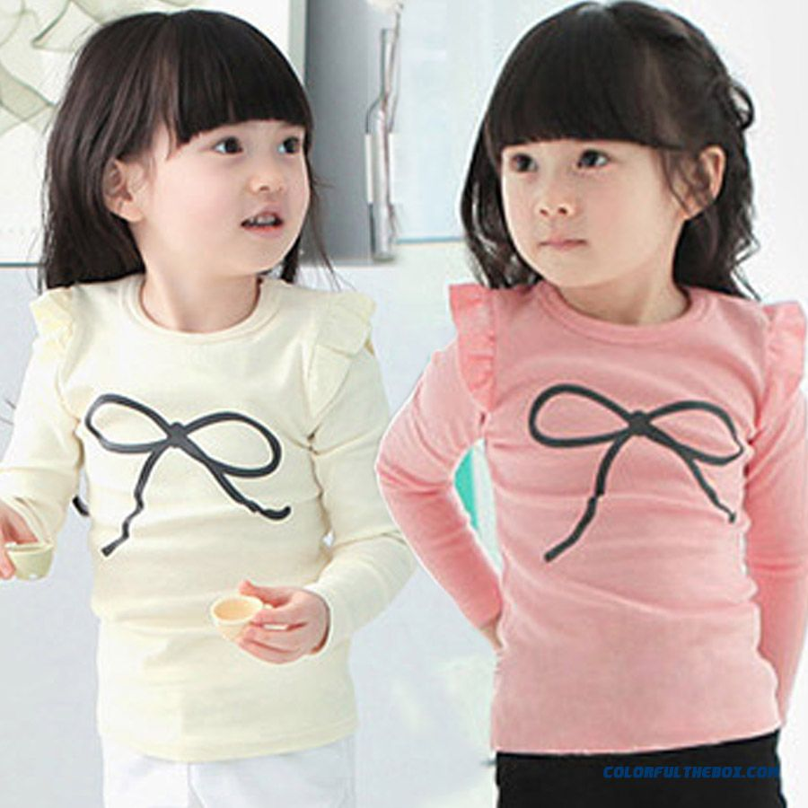Bow Girls Kids Autumn Baby Child Long-sleeved T-shirt Bottoming Shirt