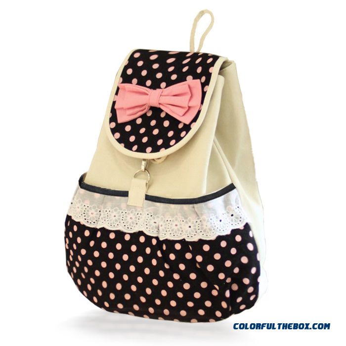 Bowknot Polka Dot Canvas Backpack Young Woman Cute School Bags Lace Purfle Online