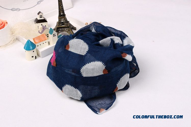 Boy Kids Pure Cotton Voile Yarn Kids Hedgehog Pattern Scarves Special Clearance Free Shipping - more images 3