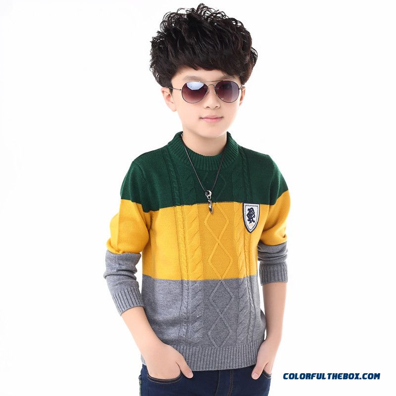 Boy Pullover Kids Aged 3-15 Thick Wool Sweater Round Neck Sweater Clothing
