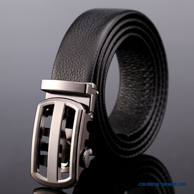 Boyfriend's Gift Level Cowhide Men's Genuine Leather Business Belt Automatic Buckle Belt