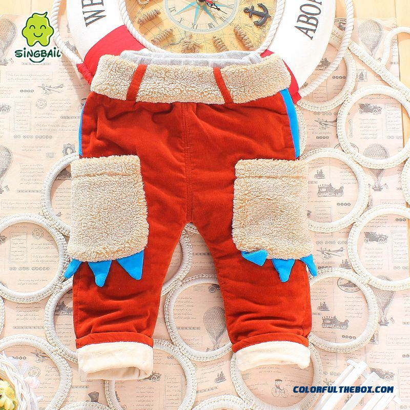 Boys And Girls Corduroy Cotton Pants Plus Thick Velvet Pants Cartoon Handsome All-match Kids Clothing - more images 1
