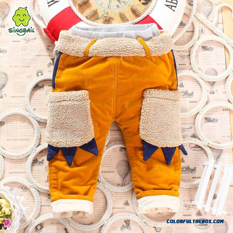 Boys And Girls Corduroy Cotton Pants Plus Thick Velvet Pants Cartoon Handsome All-match Kids Clothing - more images 2