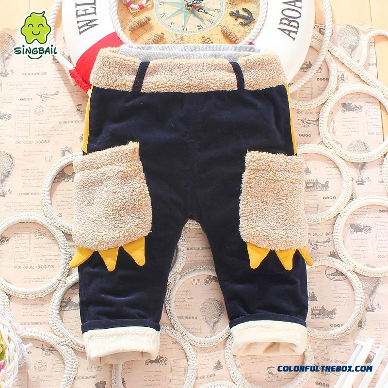 Boys And Girls Corduroy Cotton Pants Plus Thick Velvet Pants Cartoon Handsome All-match Kids Clothing - more images 4