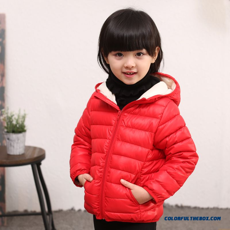 Boys And Girls Kids Cotton Jacket Thin Jacket Liner Clothing Red