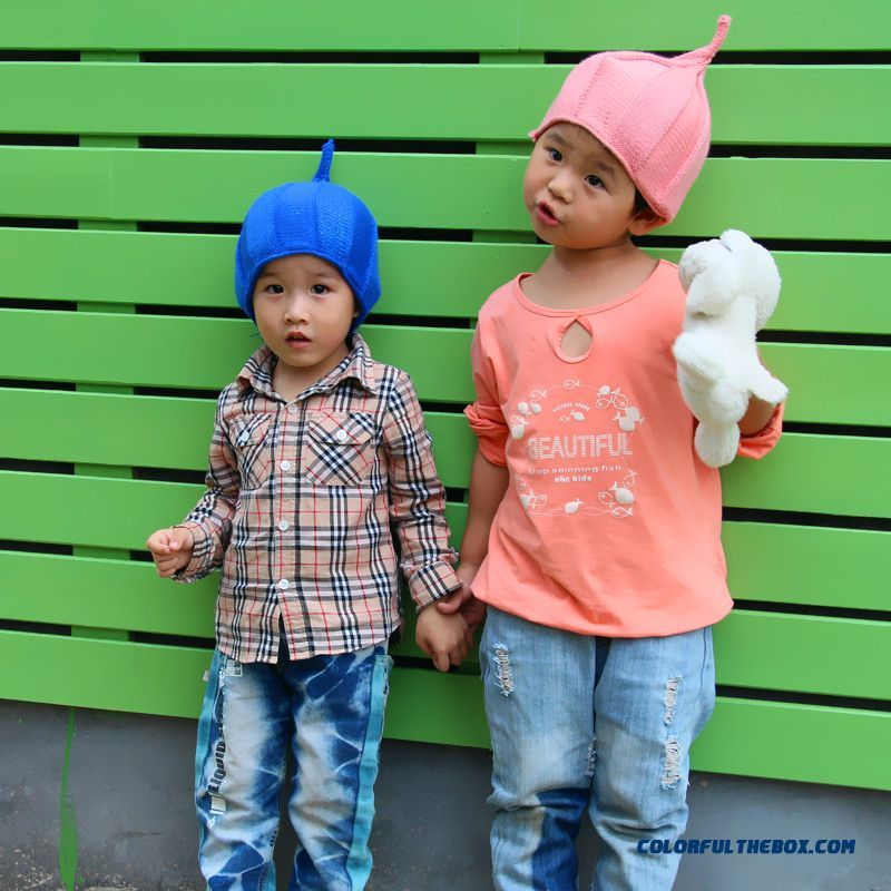 Boys And Girls Lovely Shilly-caps Steeple Knit Wool Cap Kids Set Headgear Hat Circumference About 46-53cm