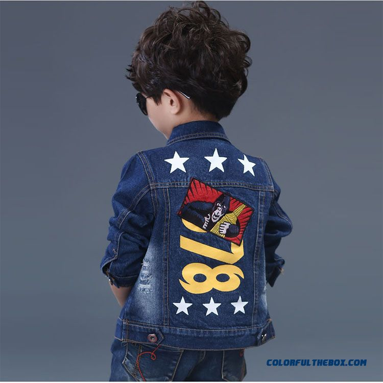 Boys Boy Denim Jacket Children's Clothing Five-pointed Star Patten Denim Clothing Free Shipping