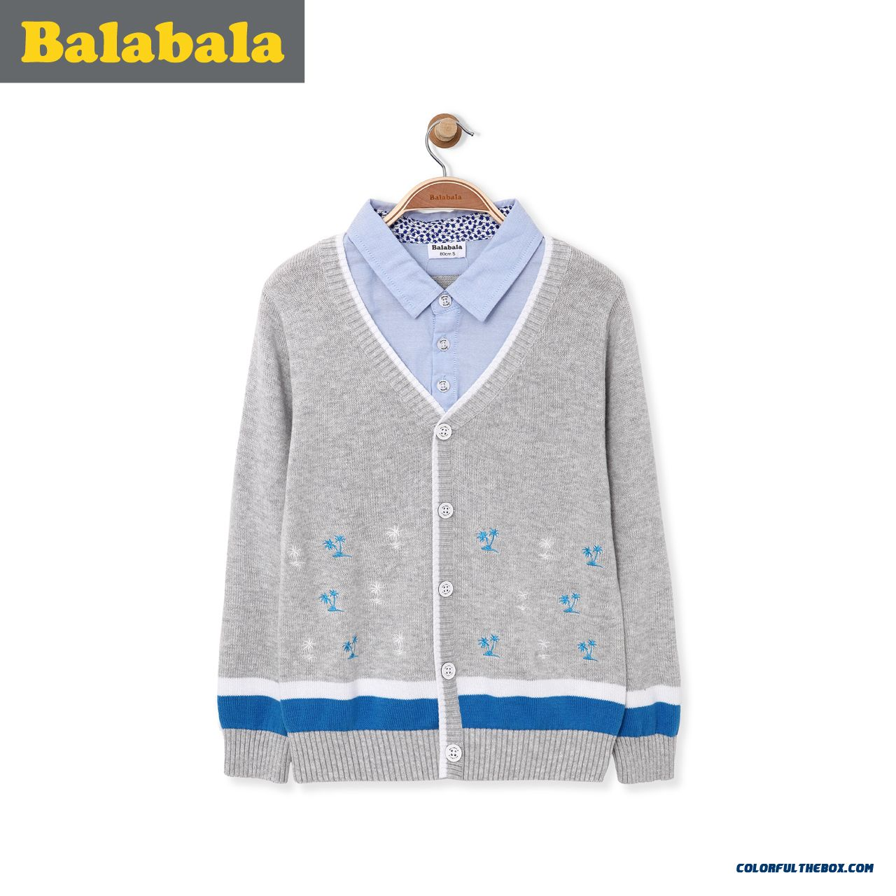 Boys Cardigan Fake Two-piece Big Kids Cotton Knit Sweater 2016 Spring Male Kids' Clothing