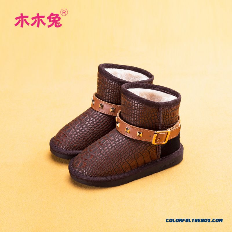 Boys Girls Boots Waterproof Boots Plus Non-slip Velvet Warm Shoes Hign Quality
