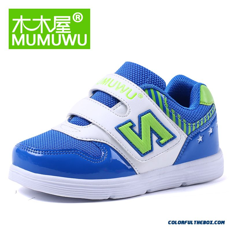 Boys Girls Casual Shoes Breathable Sneakers Running Shoes Kids Net Autumn Shoes Blue