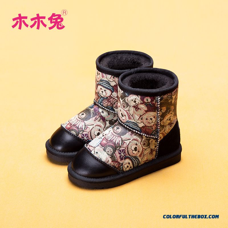 Boys Half Boots Plus Velvet Warm Baby Boots Bear Patterns Winter Shoes