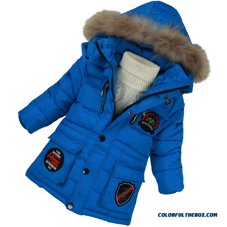Boys Kids Winter Essential Clothing All-match Cotton Jacket With Fur Collar Blue