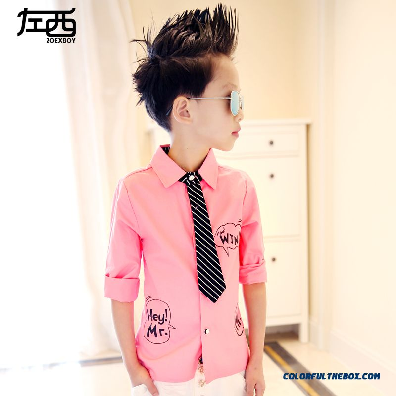 Boys Long-sleeved Pink Whiet Black Blouse Shirt Kids 3 Color Of Clothing