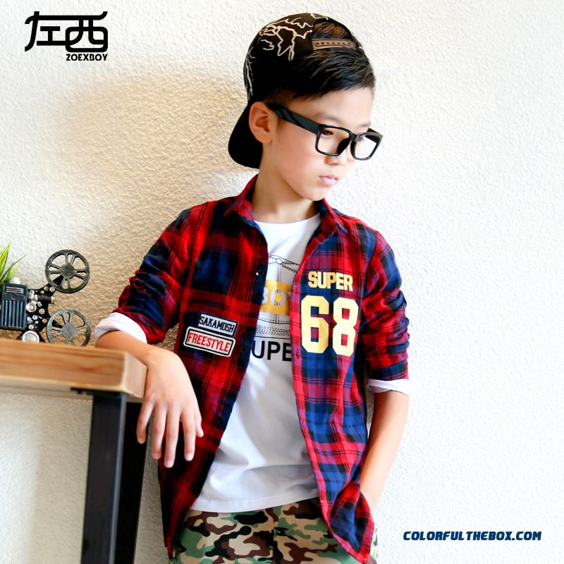 Boys Long-sleeved Plaid Shirt England Style Breathable Casual Kids Clothing