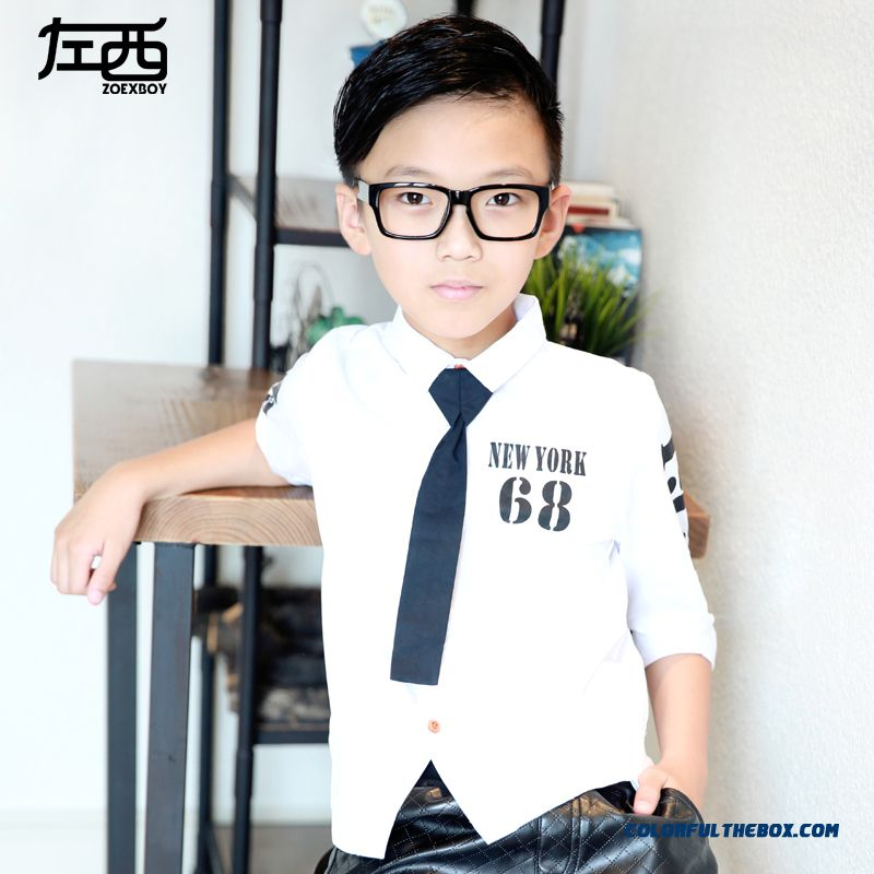 Boys Long-sleeved Shirt 2016 Korean Version Spring Digital 68 Shirts Blouses For Kids
