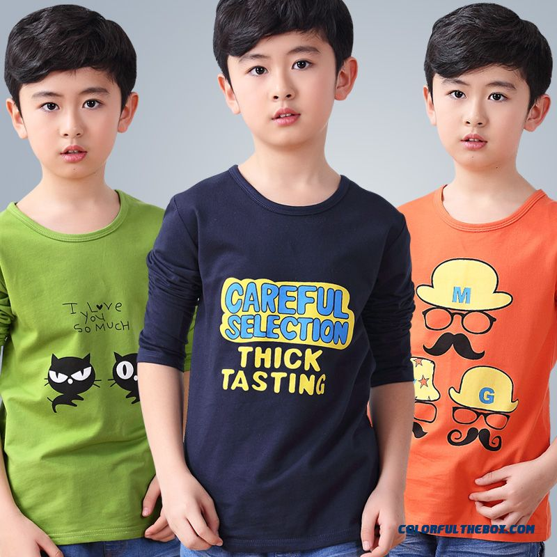 Boys Long-sleeved T-shirt Cotton Autumn Children Kids Casual Clothes Children Cartoon T-shirt