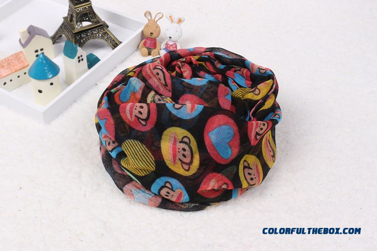 Boys Monkey Printing Cotton Yarn Multicolor Scarves Parent-child Mother And Son Style Accessories - more images 2